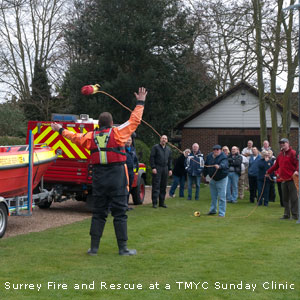 Surrey Fire and Rescue at TMYC at one of TMYC's sunday boating clinic